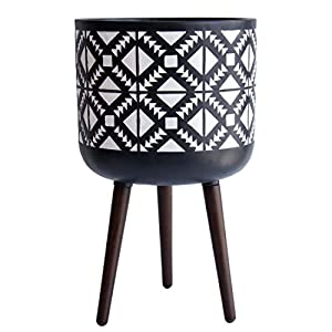 14″ X-Large Indoor Tall Planter Pot with Stand, Geometric Planter Pot for Plant, X-Large, Charcoal Grey/White