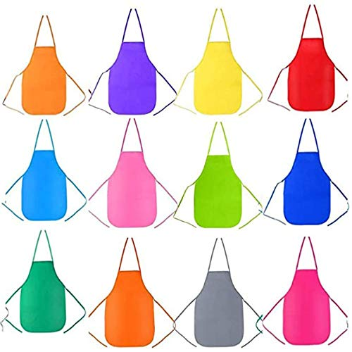 Binjor 48Pcs Una vez Delantal para niños de pintura 12 colores Impermeables Tela no Tejida Art Smock sin mangas Bata de pintura Cintura Gorro de ducha desechable de plástico PE