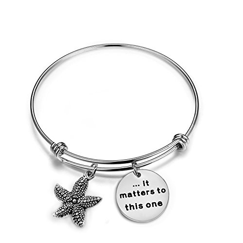 Zuo Bao Starfish Jewelry It Matters to This One Adjustable Bangle Bracelet Sea Jewelry Social Worker Gift (Bangle)