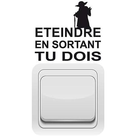 Sticker Interrupteur - Maître Yoda - Aspect Brillant Noir