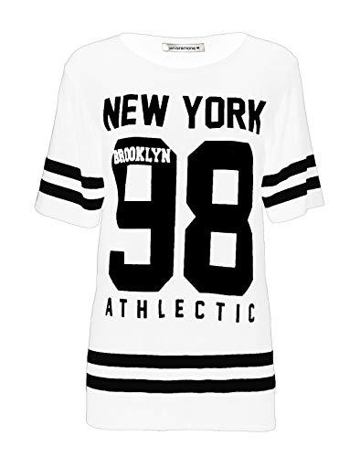 Janisramone Frauen Damen Neu Baseball New York 98 Brooklyn Gestreifte Print überdimensional Ausgebeult T-Shirt Top
