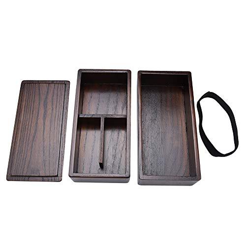 Fiambrera de madera de doble capa natural Fiambrera apilable todo en uno El diseño elegante y moderno de Bento Box incluye 2 contenedores apilables para Picnic Sushi Bento