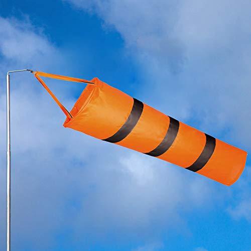 EMAGEREN Windsäcke Wetterfest Windturbine Orange Windsack mit reflektierenden Streifen Windsocke Wetterfahne Windsock mit Karabiner Befestigung für Windmessungen im Freien, Ø20cm, Länge: 81cm