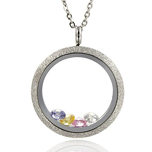 EVERLEAD Sparkle Floating Charms Locket Stainless Steel Screw Waterproof Pendant Necklace Including Chain and Birthstones(Locket Diameter: 30mm)
