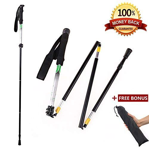 CLINE Travel Folding Trekking Hiking Pole with Carrying Case,Collapsible Cane Adjustable Walking Stick Portable Mobility Aid for Women Men Hikers Gift,Black (Black)