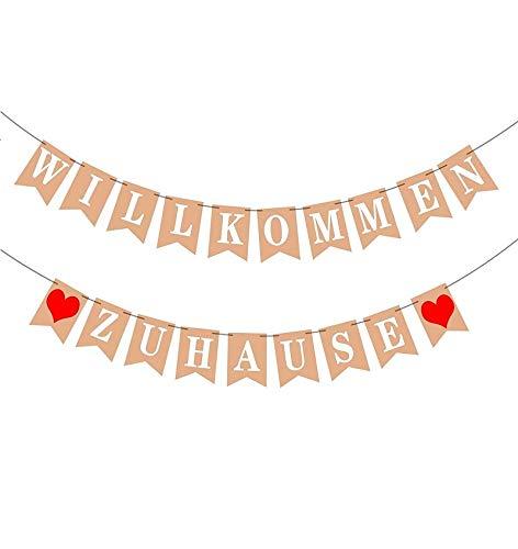 Willkommen Zuhause Banner, Herzlich Girlande für Familie Partei Welcome Home Banner für Hochzeit, Fest, Weinachten und Vintage Dekoration mit 19 Stück Wimpeln und 2 Stück 3-Meter Jute Seil