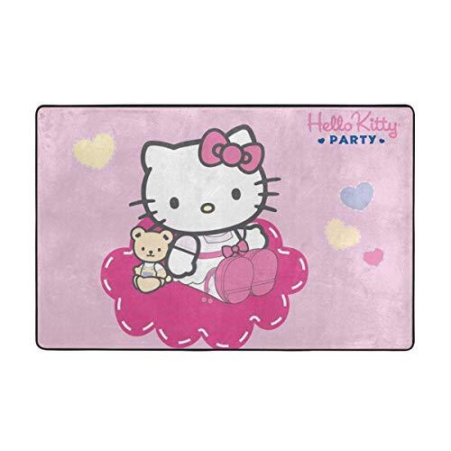 wenhe Alfombra antideslizante grande de Hello Kitty con dibujos animados para sala de estar, felpudos de 60 x 39 pulgadas