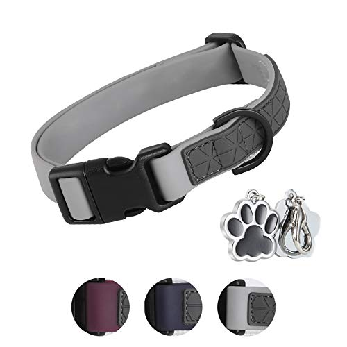 Dog Collar Waterproof Pet Collars ,Neck Adjustable Silicone Dog Collar with Strong Coated Webbing and Cute Metal Pendant for Boy Girls Dog Collars S/M/L Sizes