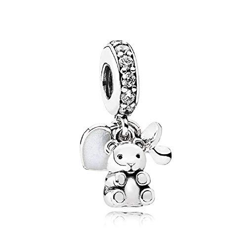 Desconocido JCaleydo – Orsi ciuccio e cuore, in argento Sterling 925, con scatola regalo, compatibile con bracciale Pandora