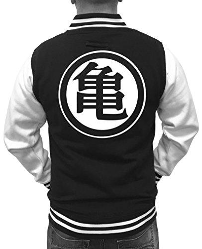 Comedy Shirts Veste de collège américain Son Goku pour Homme - Blouson de Baseball avec Logo Noir et Blanc Dragon Ball - Blouson d'université DBZ - Noir - XX-Large