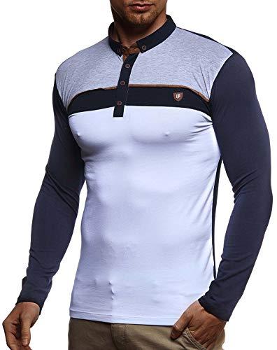 Leif Nelson Herren Polo-Shirt Langarmshirt Slim Fit Baumwolle-Anteil Basic Männer Longsleeve Pulli weißes Sweatshirt Poloshirt Pullover T-Shirt Langarm LN4805 Dunkel Blau Large