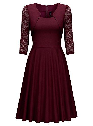 Miusol? Damen Abendkleid Elegant Cocktailkleid Vintage Kleider 3/4 Arm mit Spitzen Knielang Party Kleid Weinrot Gr.M - 6