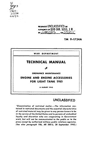 TM 9-1724A Ordnance Maintenance: Engine and Engine Accessories for Light Tank T9E1...