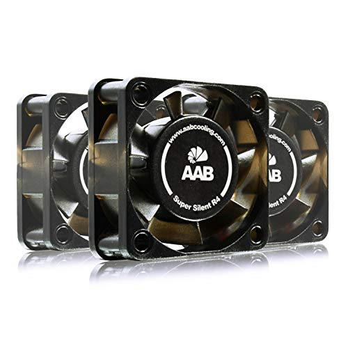 AABCOOLING Super Silent R4 - Leise und Efizient 40mm Gehäuselüfter mit 4 Anti-Vibration-Pads und 9V Spannungsreduzierer - PC Ventilator, Cooling Fan, Kühler, Ventilator - Wertpaket 3 Stück 7,9 dB (A)