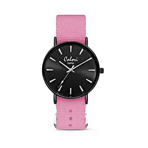 Colori XOXO 5-COL558 - Horloge - nato band - roze - ø 36 mm