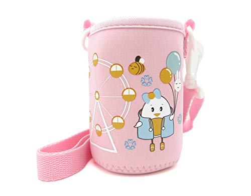 panda family(パンダファミリー) 水筒カバー 水筒ホルダー ペットボトル 缶 ぴったり 伸縮性 肩掛け キッズ 子供用 かわいい キャラクター ピンク Nタイプ(遊園地)