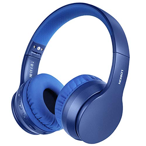 Cuffie Bluetooth Grandi, LOBKIN Cuffie Bluetooth 5.0 Wireless,cuffie over ear bluetooth,cuffie bluetooth bambina/bambino con microfono per tv,musica,pc,gaming (Blu)