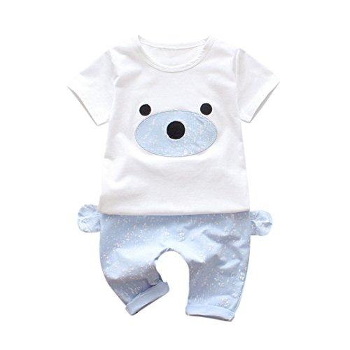 K-youth® Conjuntos Bebé Niño, 2018 Verano Ropa Recién Nacidos Ropa Bebe Niño Mangas Cortas Camiseta Bear T-Shirt Tops y Pantalones Cortos Conjunto de Ropa de Dos Piezas (Azul, 0-6 Meses)