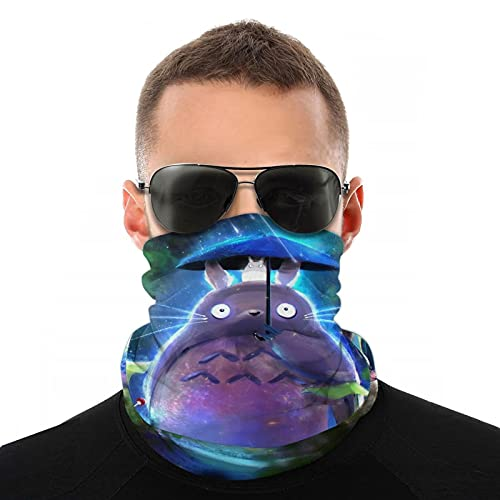 Totoro Cartoon Face Cover Neck Gaiter for Men Women, Dust Breathable Reusable Bandana Scarf Face Mask for Beach Hiking Running Cycling White