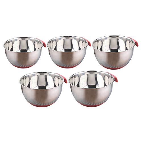 Serenable 5 Pcs Metal Mixing Bowl Set Washing Nesting Bowl for Salad Flat Base