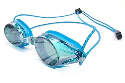 Resurge Sports Anti Fog Racing Swimming Goggles with Quick Adjust Bungee Strap (Blue Mirrored)