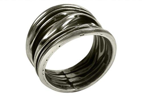 SILBERMOOS Anillo de mujer estructura arrugada arrugado olas ondas ennegrecido brillante Plata esterlina 925, Tamaño del anillo:22