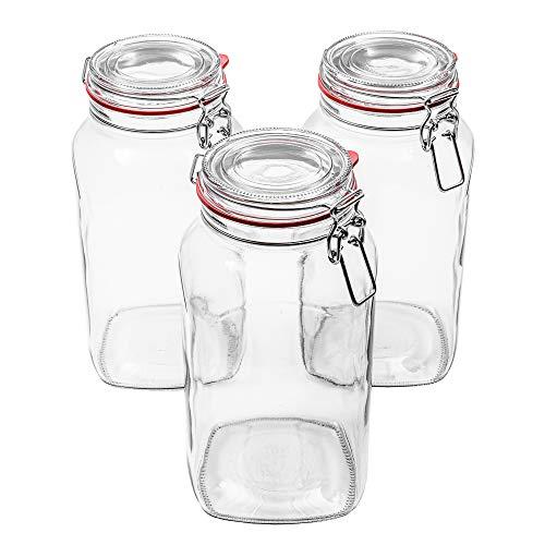 Flaschenbauer - 3 Drahtbügelgläser 2590ml verwendbar als Einmachglas, zu Aufbewahrung, Gläser zum Befüllen, Leere Gläser mit Drahtbügel
