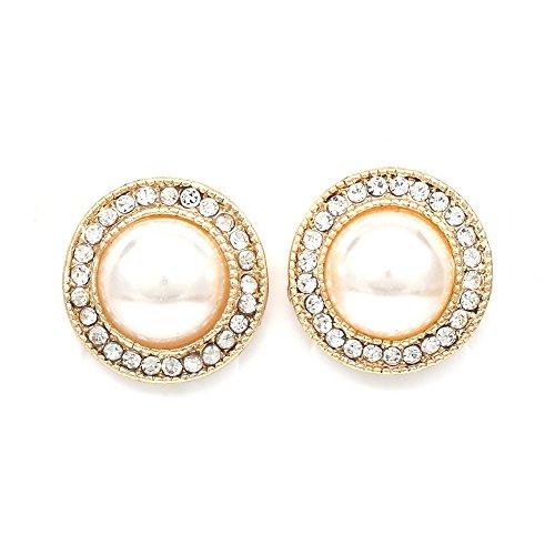 Joyería Idin–tono dorado botón redondo con imitación de perla y diamante con el borde de cristal Clip en pendientes