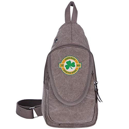 Chicago South Side Irish Canvas Chest Bag für Trekking Outdoor Sport Anti-Diebstahl-Rucksack für Männer und Frauen, Moosgrün