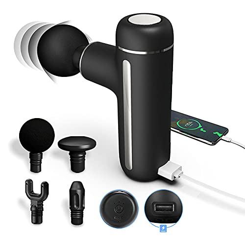 Massage Gun Deep Tissue Percussion Muscle Massager for Athletes' Neck and Back Handheld Electric High Intensity Massagers Gun with 5000mAh Power Bank for Charging Mobile Phone(3 Speeds & 4 Heads)