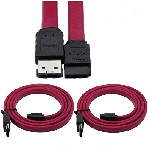 CableDeconn ESATA auf SATA Kabel, männlich auf männlich, geschirmt, 6 Gbit/s, 2 Stück