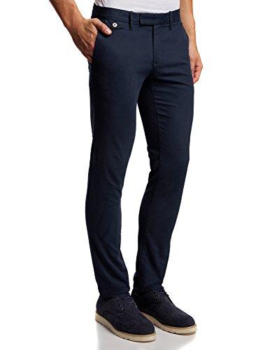 oodji Ultra Uomo Pantaloni Chino in Cotone, Blu, 42