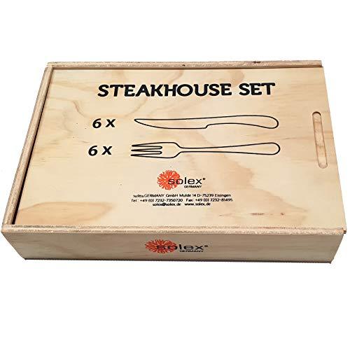 Solex Lena Besteckset Steakbesteck 12 teilig für 6 Personen inklusive Holzbox