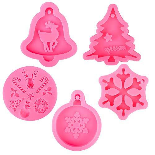 Qpout Navidad Moldes de Hornear (5pcs), Pastel de Silicona Fondant Hornear Moldes Chocolate Caramelo Herramienta de Hornear para Cumpleaños de Navidad Fiesta Pastel Decoración Cupcake Topper