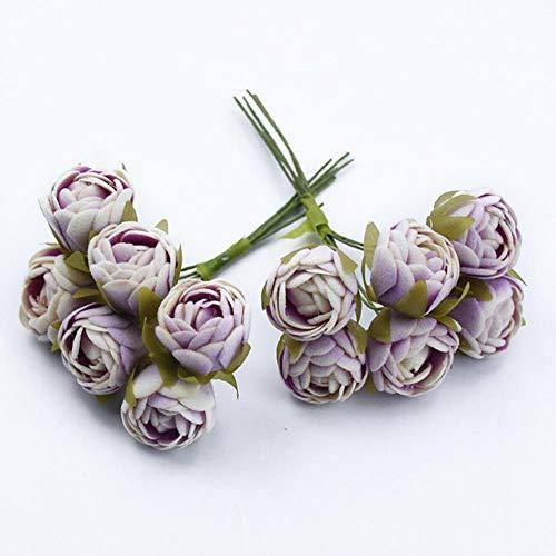 6 stks MINI thee rozen Boeket multicolor woonaccessoires kerst slinger huwelijksgeschenken doos kunstbloemen goedkoop, 7