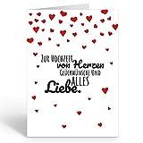 Große Glückwunschkarte zur Hochzeit XXL (A4) Viele rote Herzen/mit Umschlag/Edle Design...
