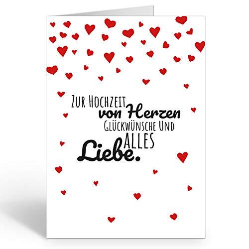 Große Glückwunschkarte zur Hochzeit XXL (A4) Viele rote Herzen/mit Umschlag/Edle Design Klappkarte/Hochzeitskarte/Glückwunsch/Ehepaar/Extra Groß/Vintage Romantisch/Edle Maxi Gruß-Karte