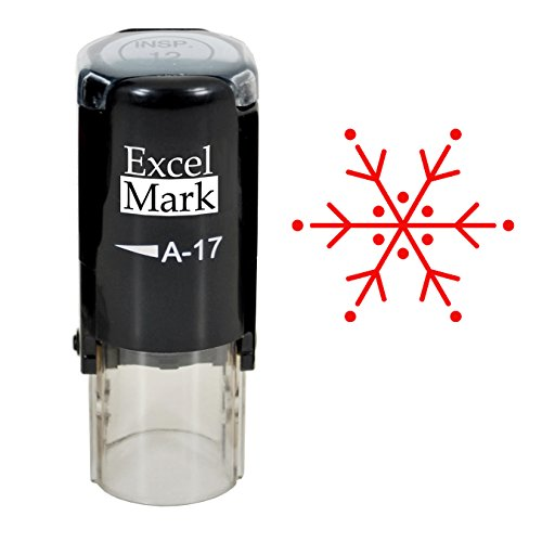 Self-Inking Christmas Rubber Stamp - Snowflake - Red Ink
