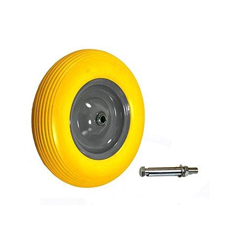 Grafner® Schubkarrenrad Vollgummi FlatFree 4.00-8PU Stahlfelge mit ACHSE Reifen Ersatzrad