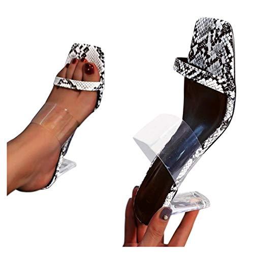 Sandalias Mujer Verano Zapatillas de Tacon Alto de Casual Moda,2021 Verano Zapatos Sexy de Tacon Alto Mujer de Punta Descubierta de Playa Sandalias de Tacones Altos Gruesos