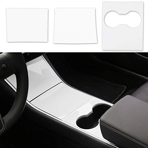 BMZX Tesla Model 3 Model Y Center Console Wrap ABS Console Cover Interior Decoration Wrap Kit- Piano White