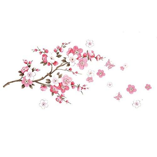 Lumanuby 1 Stück Abnehmbarer Wandaufkleber für Wohnzimmer/Schlafzimmer/Glasfenster PVC Material Kirschbaum Zweige und Blumen Wandtattoo, Schön Wanddekoration Fertige Größe 50 * 120cm
