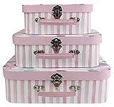Emartbuy Conjunto de 3 Lujo Rígido Caja de Regalo de Almacenamiento de Maleta de Presentación, Estampado Floral Rosa Con Tapa Rosa, Interior Rosa Con Asa de Metal y Cierre