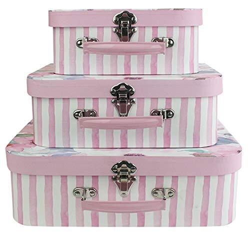 Emartbuy Set di 3 Lusso Rigido Confezione Regalo di Presentazione Valigia, Stampa Floreale Rosa Con Coperchio Rosa, Interno Rosa Con Maniglia E Fibbia In Metallo