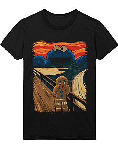 HYPSHRT Herren T-Shirt Cookie Monster The Scream Collage Art K100006 Schwarz M