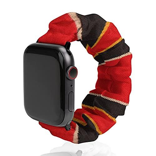 Fondo de una banda de reloj de tela a rayas de poliéster para Apple Watch, adecuado para mujeres y parejas, bandas elásticas elásticas compatibles con SE 6, 5, 4, 3, 2, 1, 38mm/40mm,