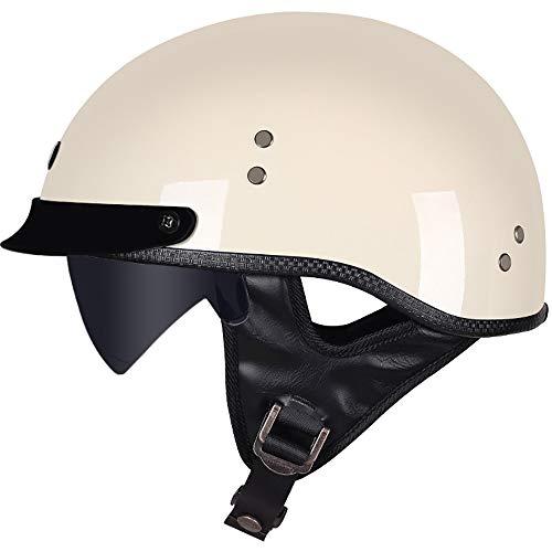 STRTT Casco Moto Mezzo Viso Retro Portatile Scodella,Protezione Conchiglia Casco per Motociclette,Cruiser,Motorino,Touring e Chopper,Approvato ECE