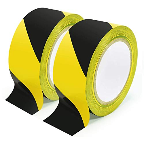 BLIGO Hazard Warning Safety Stripe Tape, 2 Inch x 36 Yards, Black and Yellow, High-Visibility, Marking Floors, Walls, Steps, Caution Dangerous Zones, 2 Rolls