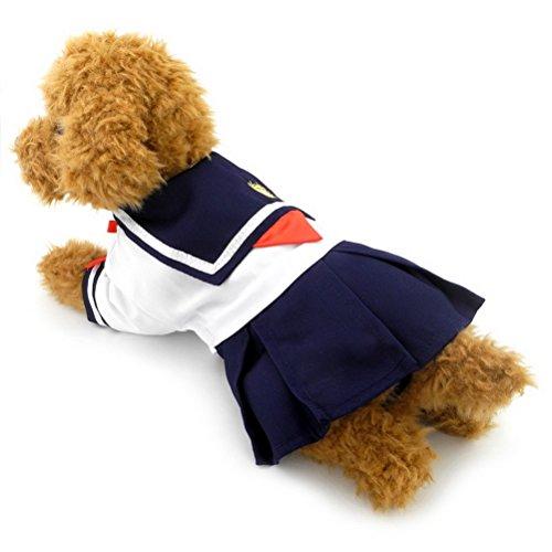 ZUNEA Uniforme de estudiantes para mujeres, pequeños perros y gatos, trajes para mascotas, disfraz de capitán marinero marinero para cachorros, camisetas de ropa M
