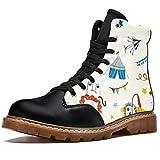 TIZORAX Botas de invierno para las mujeres León Parque de atracciones Impresiones de alta parte superior con cordones clásicos zapatos de la escuela de lona, color Multicolor, talla 37 EU
